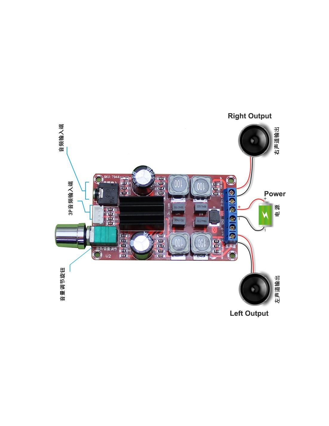 2x50W Stereo Audio Amplifier Board, TPA3116D2