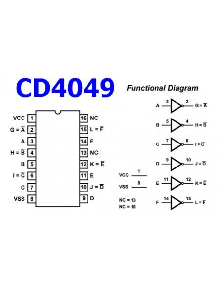 cd4049ube cmos hex inverting buffer and converter  dip