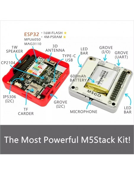M5Stack Fire Dev Kit (ESP32 dev module, Wifi, Bluetooth 4, LCD, Battery,  etc )