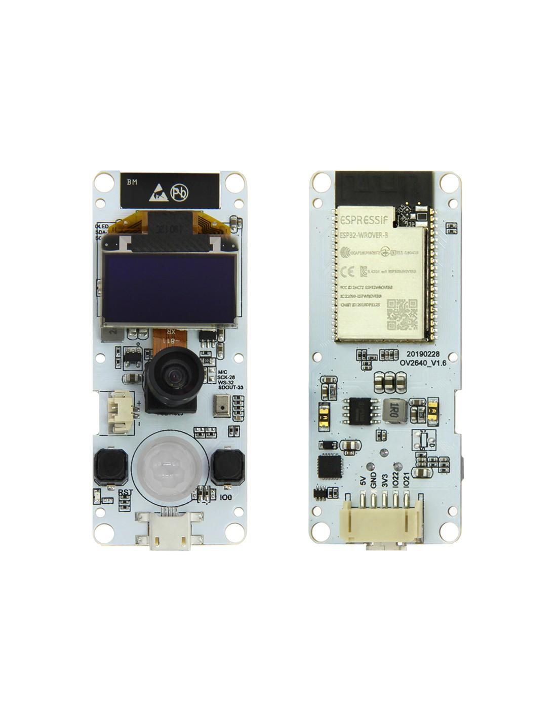 TTGO T-Camera ESP32 WROVER Wifi / BT Camera Module, ESP32 + OV2640 + PIR