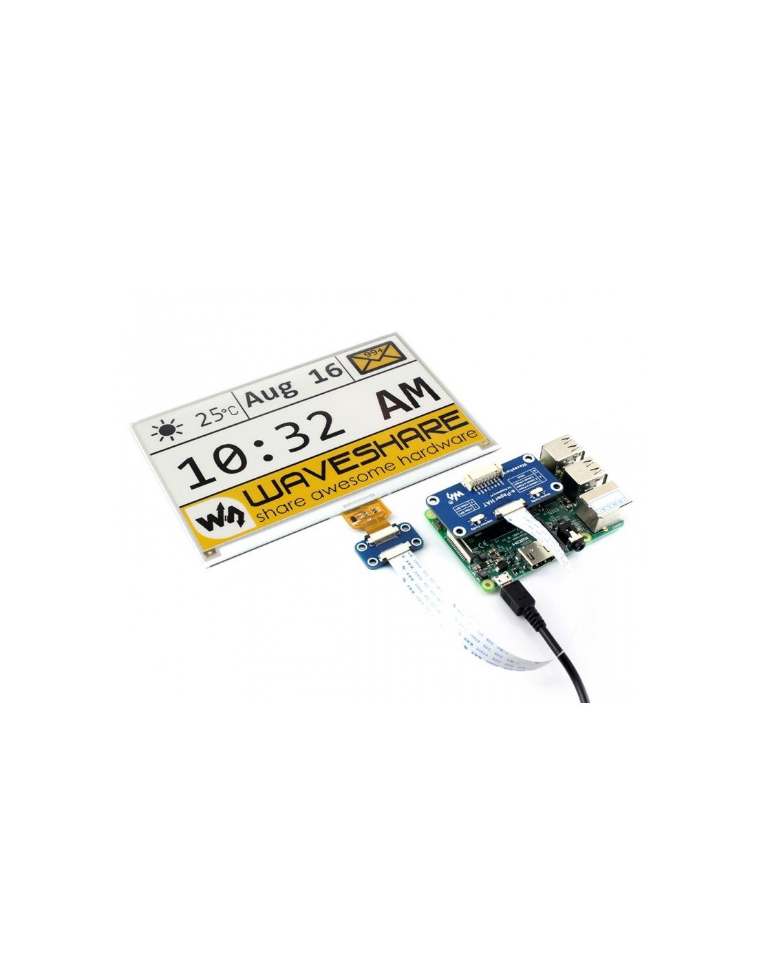 640x384, 7 5inch E-Ink display HAT for Raspberry Pi,  yellow/black/white,e-paper