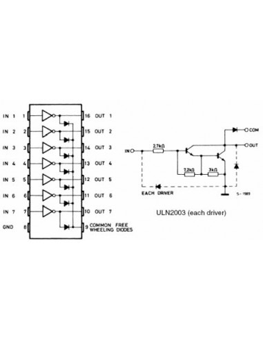ULN2003 (DIP16 7-channels Darlington Transistor Array)
