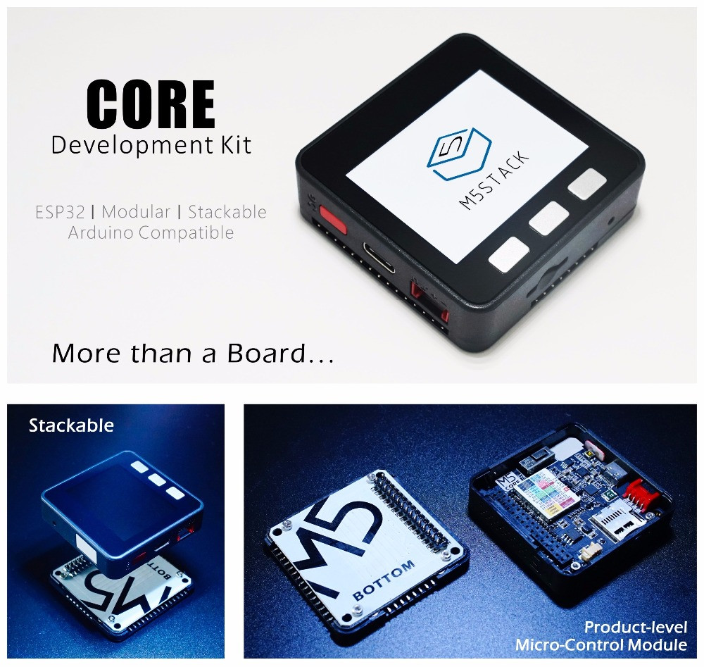 CORE ESP32 Development kit: More than a board. Stackable, product level